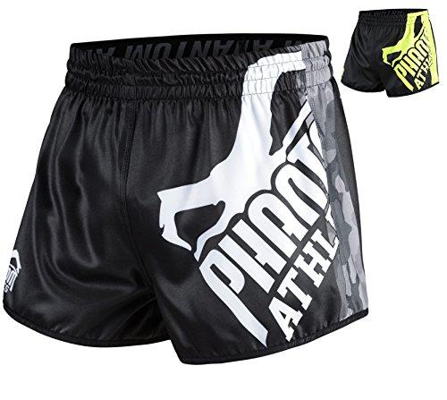 Phantom Athletics Fight Shorts Revolution - Fight MMA Muay Thai Athletic Fitness Shorts (Black/Camo, M)