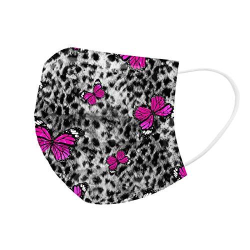 Tomatoa 50 Stück Einmal-Mundschutz, Erwachsene, Atmungsaktive Leopard Schmetterling Drucken Staubs-chutz Mundbedeckung, Bandana Face-Mouth Cover Sommerschal