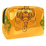 Bolsa de Maquillaje para niños Indio Elefante Naranja Accesorio de Viaje Neceser Pequeño Bolsas de Aseo Impermeable Cosmético Organizadores de Viaje 18.5x7.5x13cm