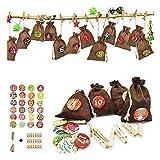 Moligh doll Weihnachtstasche Adventskalender Leinen Geschenk Candy Verpackung Kleine Stofftasche...