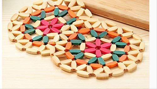 Alfombrilla de bambú para vegetales, alfombrilla de aislamiento para mesa, posavasos, cuenco, antiollas, alfombra de bambú, alfombrilla de comedor para el hogar, resistente al calor, juego de 6 piezas de tamaño 14,5 cm