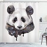 ABAKUHAUS Tier Duschvorhang, Aquarell Panda Bär, mit 12 Ringe Set Wasserdicht Stielvoll Modern Farbfest & Schimmel Resistent, 175x200 cm, Weiß Beige & Schwarz