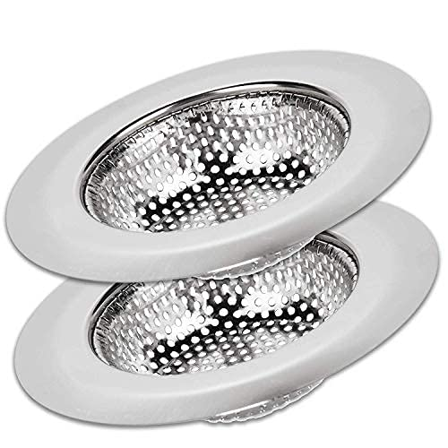 2 Pack Kitchen Sink Strainer Food Catcher 4.5 inch Diameter, Wide Rim Perfect for Most Sink Drains, Anti-Clogging Micro Perforation Holes, Rust Free Stainless Steel, Dishwasher Safe