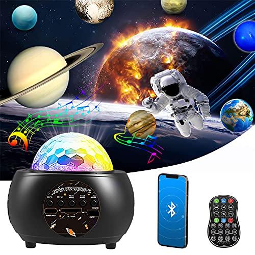 Planetario Proyector Estrellas, Lampara Estrellas Galaxia Proyector con Bocina Bluetooth, Control Remoto, Temporizador, Automático Rotación, Niños Adulto Regalo para Navidad, Halloween, Cumpleaños