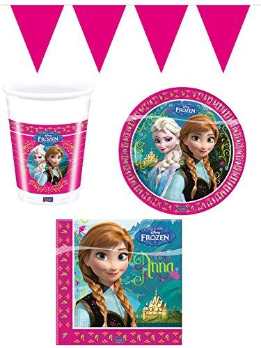 Juego de vajilla de Fiesta de 37 Piezas. Disney Frozen Die Eiskönigin Elsa & ANN Niño/niña Juguete para el Aprendizaje