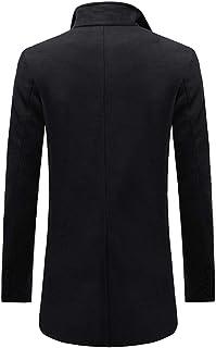 Cappotto da Uomo Slim Fit Top a Maniche Lunghe Bottoni Diagonale a Fila Singola Giacca Lunga Caldo Bussiness Tempo Libero ...