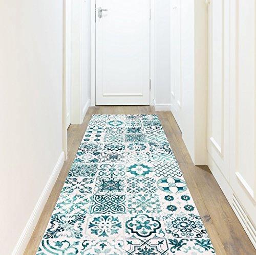 Vinyl tapijt Port Grimaud, turquoise, 80 x 300 cm