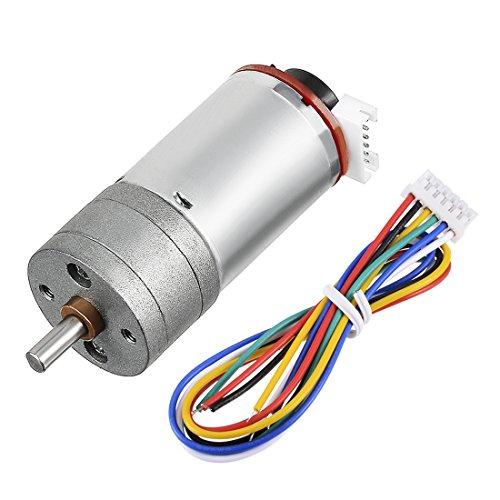 uxcell Gear Motor with Encoder DC 12V 201RPM Gear Ratio 21.3:1 D Shaft Metal Encoder Gear Motor Silver 25Dx49L mm for Robot RC Model DIY Engine