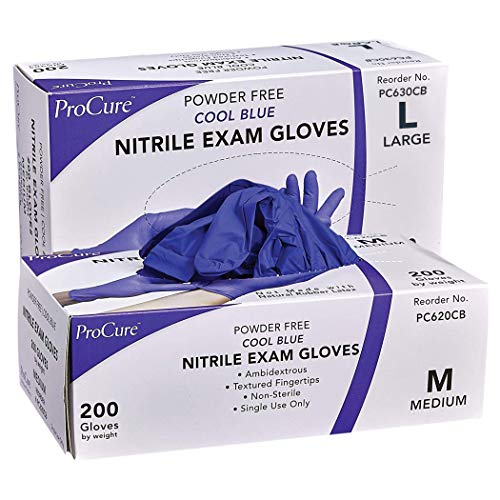 ProCure Disposable Nitrile Exam Gloves - Size Medium and Large 2-Pack Bundle - 2 Boxes of 200 Gloves - Powder Free, Rubber Latex Free, Medical Grade, Non Sterile, Ambidextrous - Cool Blue