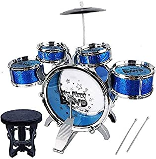Effy Shoppy Musical Jazz Drum Set with Sitting Chair for Kids (Blue) - Music Drum Toys