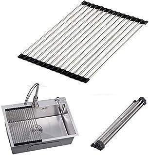 DJSMsnj Rangement de cuisine, égouttoir d'évier pliable, rouleau de cuisine pour vaisselle, fruits et légumes, support iso...