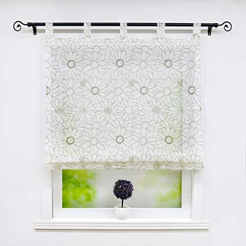 Joyswahl Voile Raffrollo mit Schlaufen halptransparenter Gardine mit Blumen Muster »Barte« Schals Fenster Vorhänge BxH 80x140cm Grau 1er Pack
