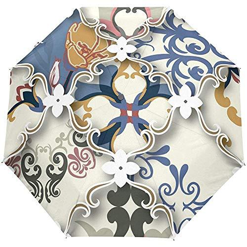 Vintage böhmische Blumen Mandala Auto öffnen schließen Sun Rain Umbrella