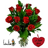 FLORESLOWCOST Ramo DE 12 Rosas Rojas Naturales Frescas + CORAZÓN I Love You + AÑADE TU DEDICATORIA...