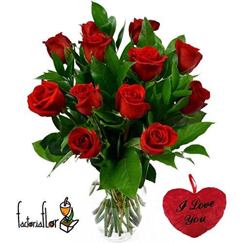 12 rote Floreslowcost Blumenstrauß Rosen, natürlich frisch Nestle Geschenkverpackung 100 g Pralinen