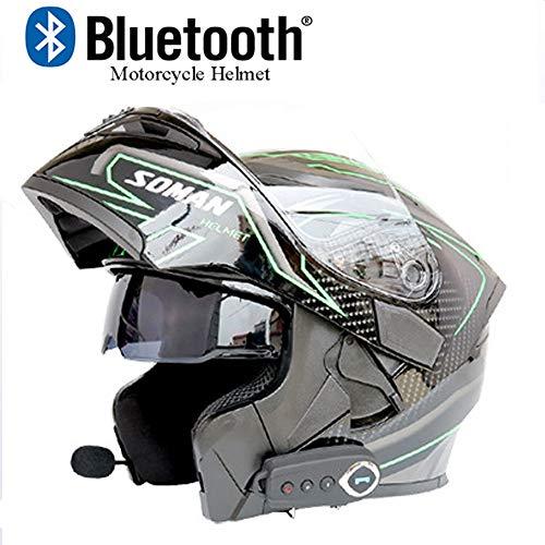 EDW Motorrad Bluetooth Helm Modular Klapphelme DOT-Zertifizierung Antibeschlag-Doppelspiegel mit automatischer FM-Antwort in Stereo-Klangqualität,XXL(63~64cm)