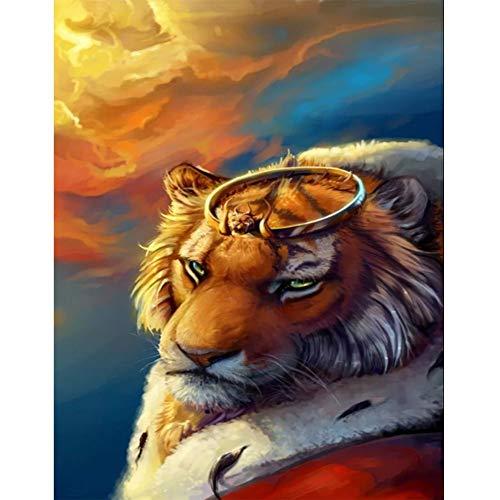 Lazodaer Kit de pintura de diamante redondo completo 5D, kit de pintura de diamantes de imitación de diamante para adultos, decoración del hogar, tigre con una corona de 11.8 x 15.7 pulgadas