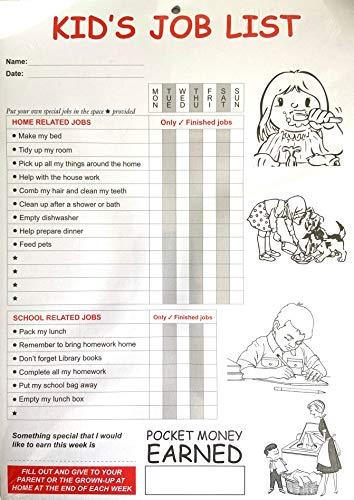 Aufgabenliste für Kinder für Aufgaben und wöchentliches Taschengeld – 6 Monate Vorrat