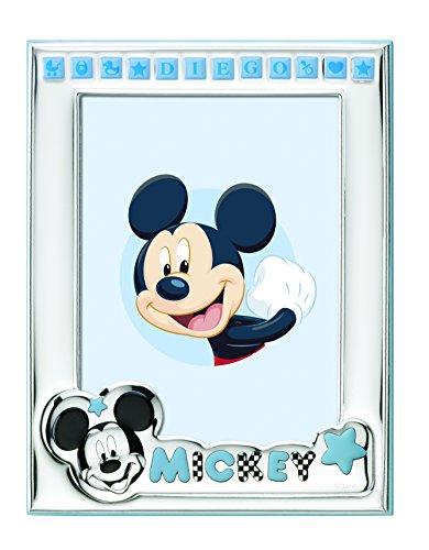 Disney Topolino Mickey Mouse - Cornice Porta Foto da Tavolo in Argento per Neonato Personalizzabile con il Nome del Bambino Semplice e Tutto Incluso