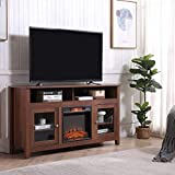 TV Stand with Fireplace, Wood Entertainment Center with Storage,Wide Farmhouse Media Console Cabinet for TV Up to 65 Inches (Fireplace Purchased Separately)