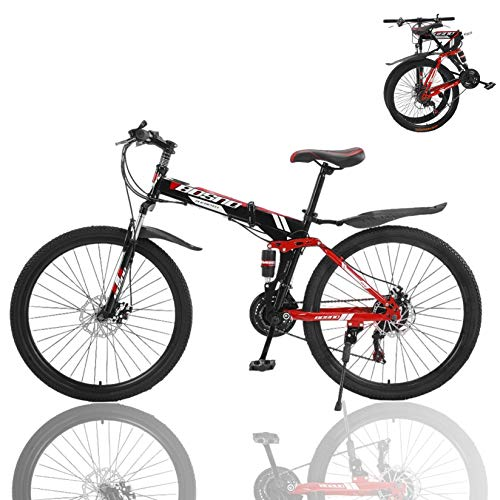 Mountain Bike, 26-Inch Wheels, 21 Speed Dual Disc Brakes, Folding Bike for Men & Women, High Carbon Steel Frame, Full Suspension, Bicycle Urban Commuters, Multiple Colors (Red A)