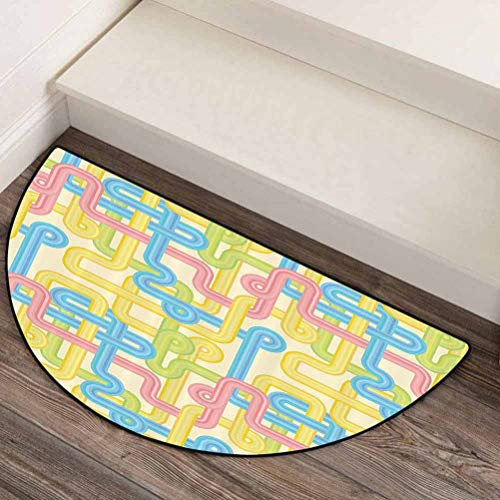 44' L x 22' W 90s Decorations Indoor Large semicircular Carpets High Traffic Areas Vintage Design Hippie Labyrinth Style Geometric Pattern Illustration in Pastel Colors Yellow Blue