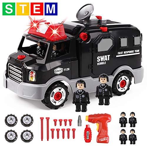 GILOBABY Montage Spielzeug Autos, Kinder DIY Gebäude Spielzeug, Polizeiauto hat Licht und Ton und Drill-Sound, STEAM Spielzeug Geschenke Gut für Kinder