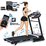ANCHEER Folding Treadmill with APP Control, 3.25HP Automatic Incline Treadmill, Walking Running Jogging Running Machine with APP Control for Home Gym Cardio Fitness