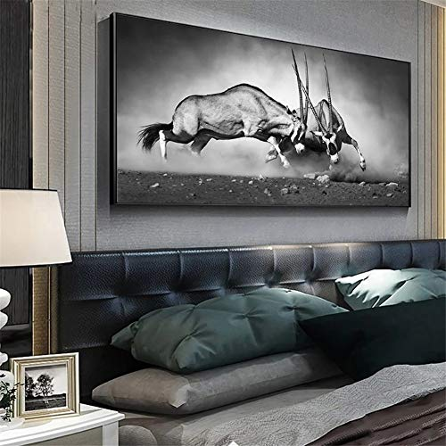 5D DIY Diamond Painting Full Drill Kits by Numbers, Animal Gemsbok Diamond Art Painting for Adults/Kids Embroidery Pictures Cross Stitch Canvas Crafts, for Home Wall Decor Square Drill,70x140cm