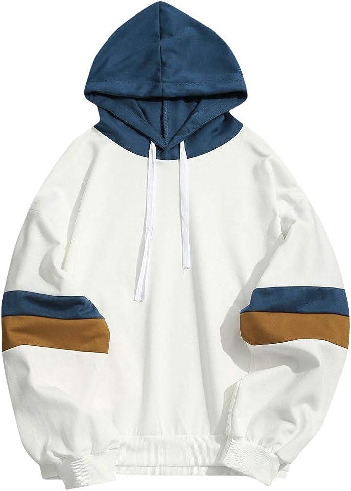 Asibeiul Men's Patchwork Hoodie Jacket Hooded Sweatshirt Pullover Coat Outwear Blouse Slim Fit Winter Warm Fashion Casual