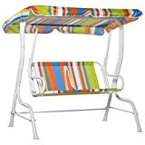 Outsunny 2-Seat Kids Canopy Swing Chair Toddler Outdoor Glider Hammock Lounge with Shade Awning Seat Belt for Porch Backyard Colorful Stripes 43' x 27.5' x 43'