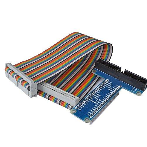 WINGONEER® RPi GPIO Breakout Erweiterungsplatine + Flachbandkabel für Himbeer Pi 3 2