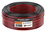 Manax – Cable para altavoces (10 m, 2 x 0,75 mm² Rojo/Negro