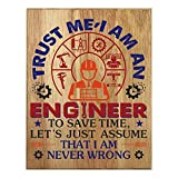 QUMO Engineer Gifts for Men   Plaque   Women   Funny   Him   Her   Wooden Sign   Office   Christmas   Wall Art