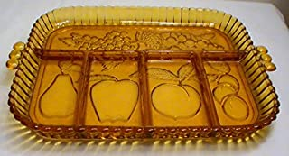 Vintage Indiana Carnival Amber Glass Divided Relish Tray