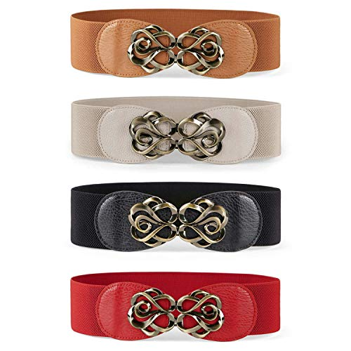 JASGOOD Women Stretchy Belt for Dresses Vintage Elastic Wide Waist Belt,Suit for Waist Size 28 -34 Inches, 13-Black+Brown+Deep Beige+Red(4 PCS)