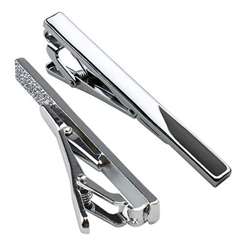 Andux Set 2 alfiler pinza Clip de corbata para hombres 5.8 cm Pisacorbatas Skinny LDJ-02