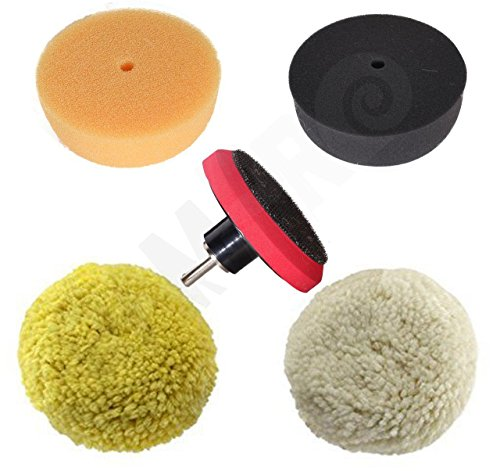 Rampro 3' Car Buffing and Wax Polishing Pad Kit - Drill Attachment Tool with Fastener Wheels