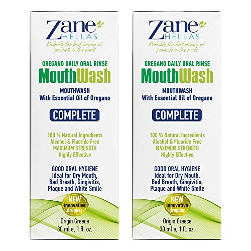 Zane Hellas MouthWash. Oral Rinse with Oregano Oil Power. Ideal for Gingivitis, Plaque, Dry Mouth, and Bad Breath. Alcohol and Fluoride Free. 100% Herbal Solution. 2 fl.oz.-60ml.