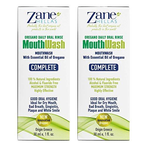 Zane Hellas MouthWash. Oral sköljning med Oregano Oil Power. Perfekt för tandkötsinflammation, plack, torr mun och dålig andning. Alkohol- och fluorfri. 100% växtbaserad lösning. 2 fl. Uns. -60 ml.