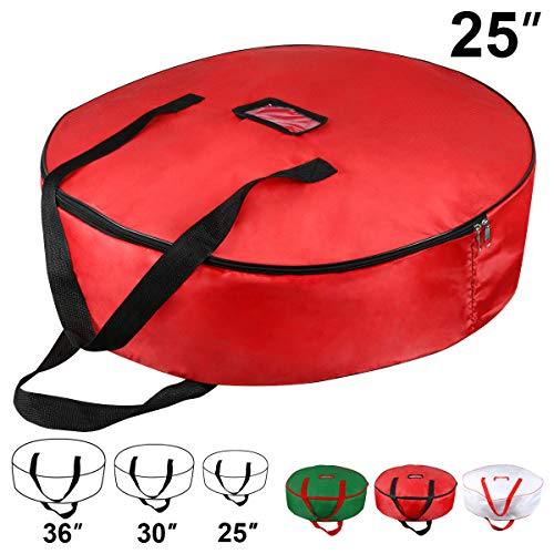 Christmas Wreath Storage Bag - Xmas Large Wreath Container - Reinforced Wide Handle and Double Sleek Zipper - Heavy Duty Protect Your Holiday Advent, Garland, Party Decorations and Ornaments 25',Red