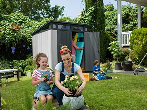 Keter Artisan Pent Outdoor Plastic Garden Storage Shed, Grey, 7 x 7 ft Garden Storage & Housing