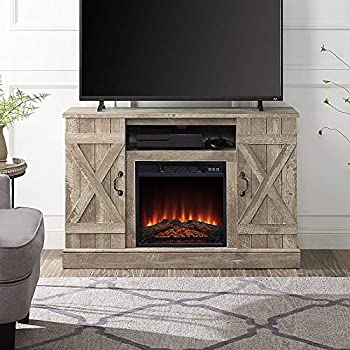 BELLEZE Industrial Rustic Electric Fireplace TV Stand & Media Entertainment Center Console Table for TVs up to 50 Inch with Open Storage Shelves & Cabinets – Veropeso  Ashland Pine
