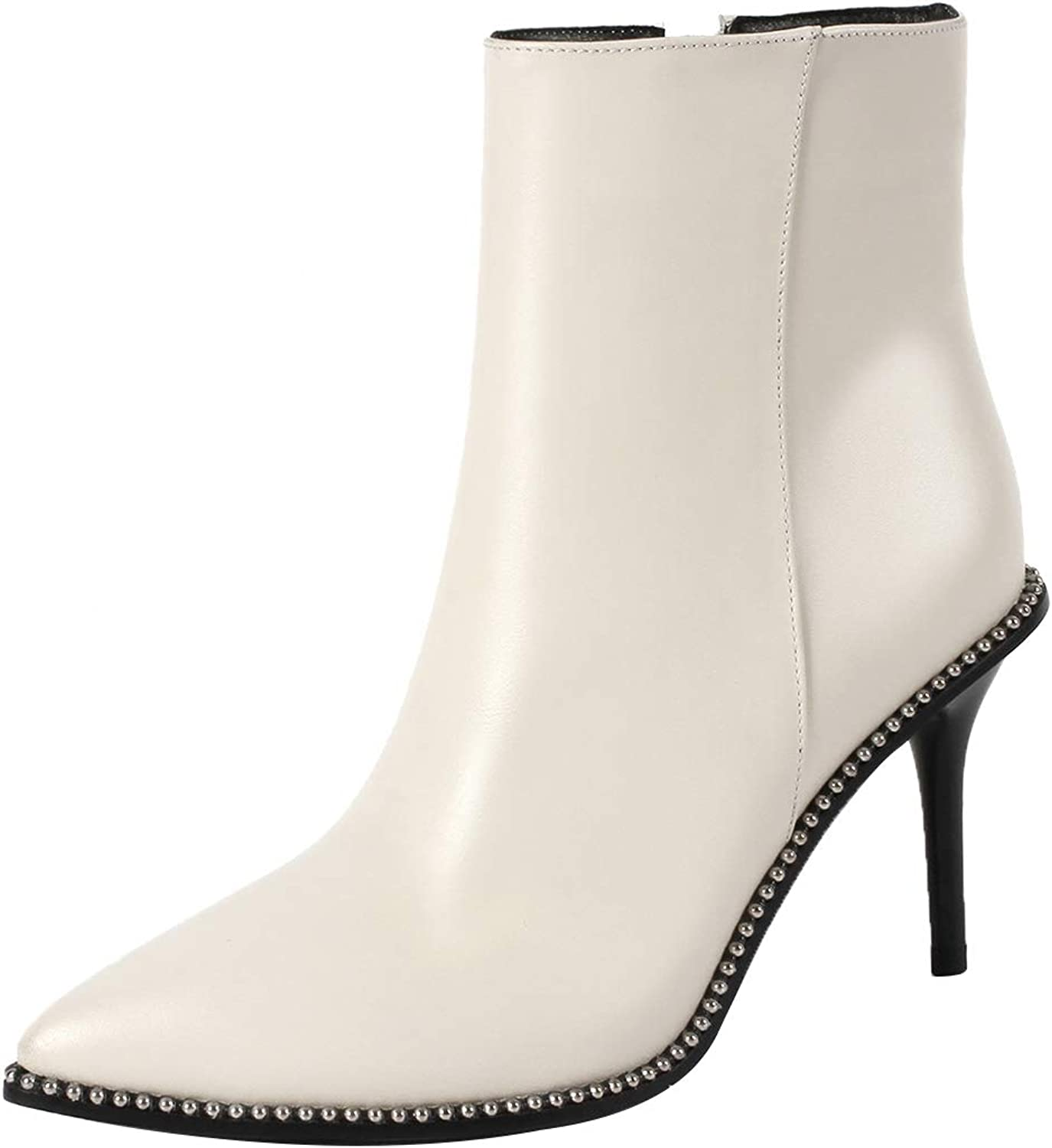 Eithy Women's Shacco Stiletto Ankle-high Zipper Leather Boots