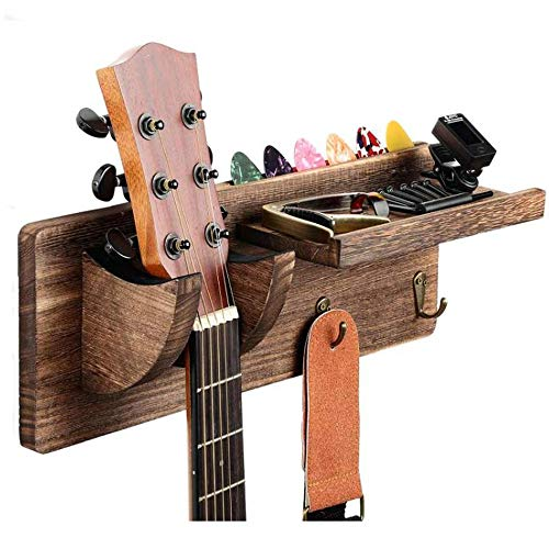 TODALE Guitar Wall Mount Guitar Hanger Wood Guitar Hanging Rack with Pick Holder and 3 Hook (Wood Brown)
