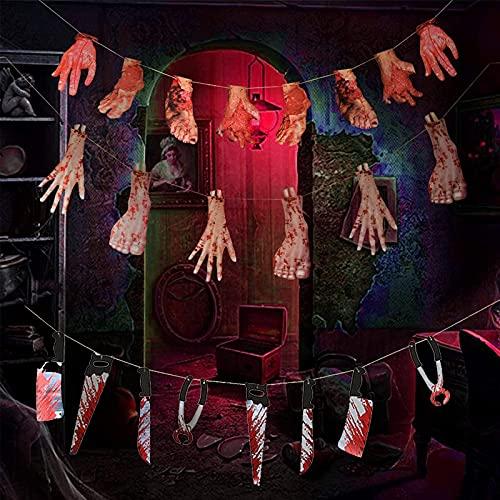 Set Terror Decoración Halloween 6 Dedos, 8 Manos Y Pies Malos, 8 Cuchillos de Sangre, Utilizados para Halloween, Casas Embrujadas, Salas Secretas Y Accesorios para Representaciones Teatrales