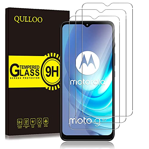 QULLOO Pellicola Protettiva per Motorola Moto G50, [3 Pezzi] 9H Durezza HD Chiaro Pellicola Vetro