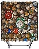 Wohnungs Dekoration Steampunk Bad Rustikal Dekorationen Uhr Vintage Design für Frauen Bad Home Deko Ideen in Modern Pop Art Wanduhren World Mal Vorhang für die Dusche, Alarm Clocks, 59x71inch