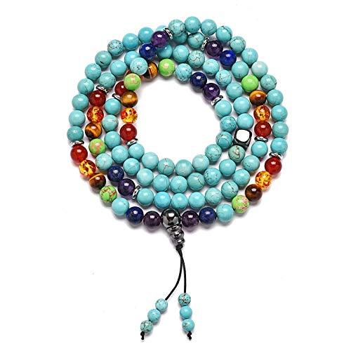 Minekkyes 108 Piedra Natural Yoga Mara Pulsera Acero Inoxidable Septum Collar de Rosario Budista