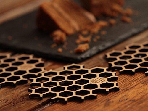 BU Products Untersetzer aus Bambus in Bienenwaben-Form - 6 Stück Für Biergläser oder Tassen - Natürliches Holz - Umweltfreundliche Tischdekoration